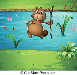 A beaver with a wood in the river - Illustration of a beaver...