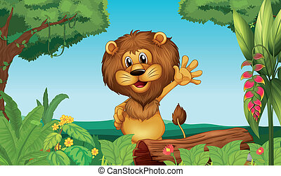 A happy lion in the forest - Illustration of a happy lion in...