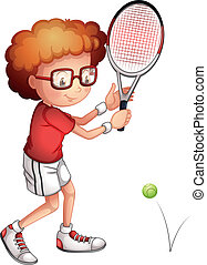 A girl playing tennis - Illustration of a girl playing...