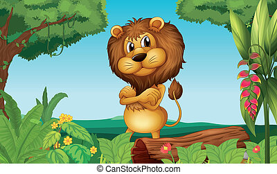 A lion standing in the woods