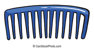 A blue comb - Illustration of a blue comb on a white...