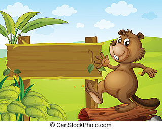 A beaver and an empty signboard - Illustration of a beaver...