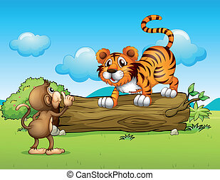 A monkey and a tiger - Illustration of a monkey and a tiger