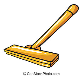 A yellow mop - Illustration of a yellow mop on a white...
