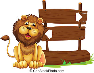 A lion sitting beside a signboard - Illustration of a lion...