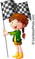 A smiling kid holding a flag - Illustration of a smiling kid...