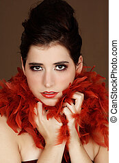woman with feather boa - young woman with red feather boa