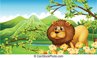 A lion in a green mountain area - Illustration of a lion in...