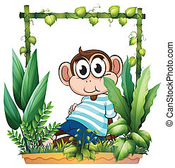 A monkey with a blue shirt in the garden
