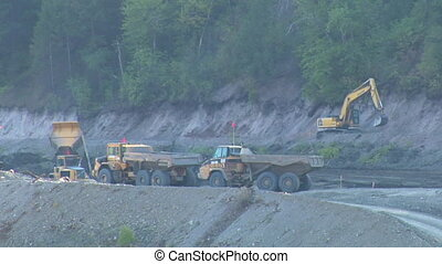 large dump trucks with excavator