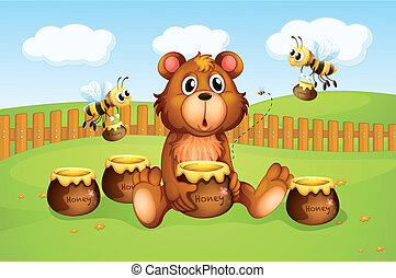 A bear and bees inside a fence