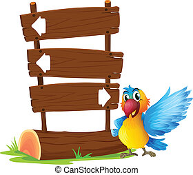A parrot beside a signboard - Illustration of a parrot...