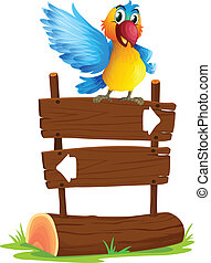 A colorful bird and the signboard