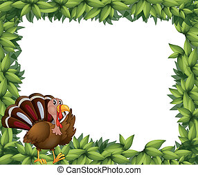 A green frame border with a turkey - Illustration of a green...