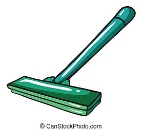 A green mop - Illustration of a green mop on a white...