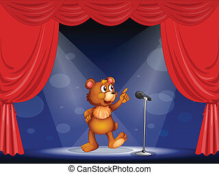 A bear performing on the stage - Illustration of a bear...