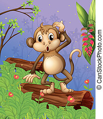 A monkey playing in the garden