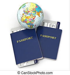 World travel. Earth, airline tickets and passport. 3d -...
