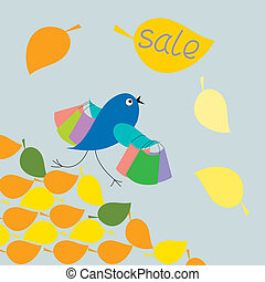Bird runs with shopping autumn sale