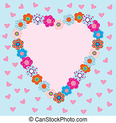 Beautiful heart-shaped frame with flowers
