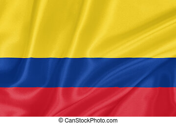 Flag of Colombia waving with highly detailed textile texture...