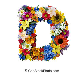 Flower Alphabet - D - Letter D made of flowers isolated on...