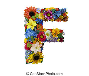 Flower Alphabet - F - Letter F made of flowers isolated on...