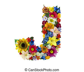 Flower Alphabet - J - Letter J made of flowers isolated on...