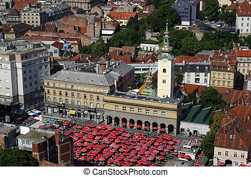 Zagreb, St Mary church - Aerial view of Zagreb, the capital...