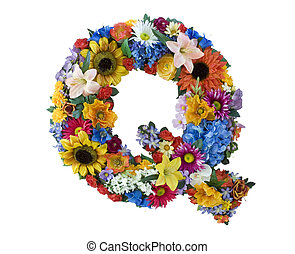 Flower Alphabet - Q - Letter Q made of flowers isolated on...