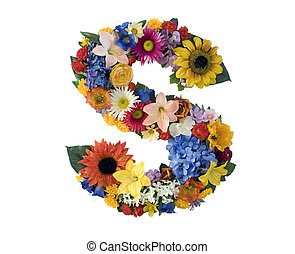 Flower Alphabet - S - Letter S made of flowers isolated on...