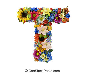 Flower Alphabet - T - Letter T made of flowers isolated on...