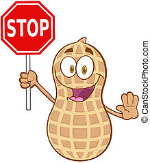 Peanut Holding A Stop Sign - Peanut Cartoon Mascot Character...