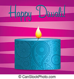 Happy Diwali! - Bright pink and blue Diwali card in vector...