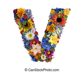 Flower Alphabet - V - Letter V made of flowers isolated on...