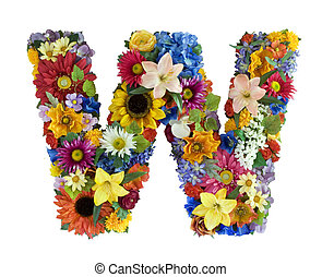 Flower Alphabet - W - Letter W made of flowers isolated on...
