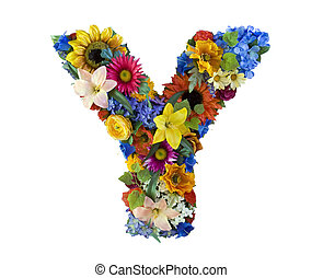 Flower Alphabet - Y - Letter Y made of flowers isolated on...
