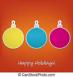 Merry Christmas - Happy Holidays sticker bauble card in...