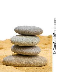 arena, roca, armonía, balance, puro, sencillez