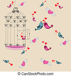 Valentine freedom bird love background - Valentine day...