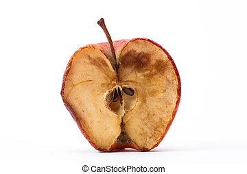 Half a rotten apple on white background