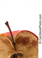 Rotten apple with mould on white background with copy space