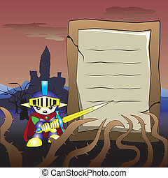 Knight cartoon with sword