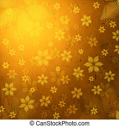 striped flowers in brown old paper background