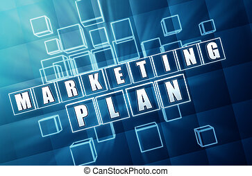 marketing plan in blue glass cubes - marketing plan - text...