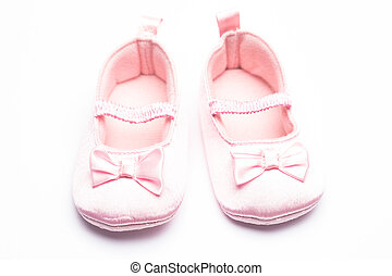 Baby girls booties - Baby girls pink booties on white...