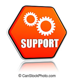 support and gears sign in hexagon button - support and gears...