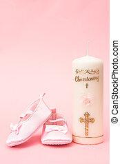 christening, vela, Cor-de-rosa, bebê, booties