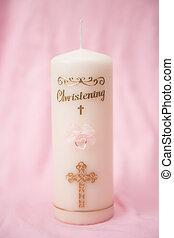 baptême, bougie, rose, détail