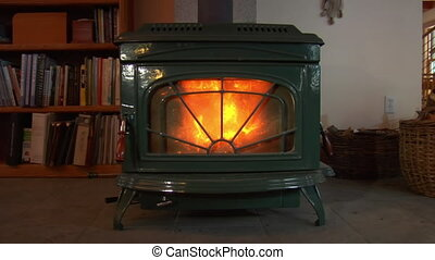 nice woodstove with bookshelf nearby